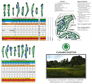 Columbia Golf Club score card