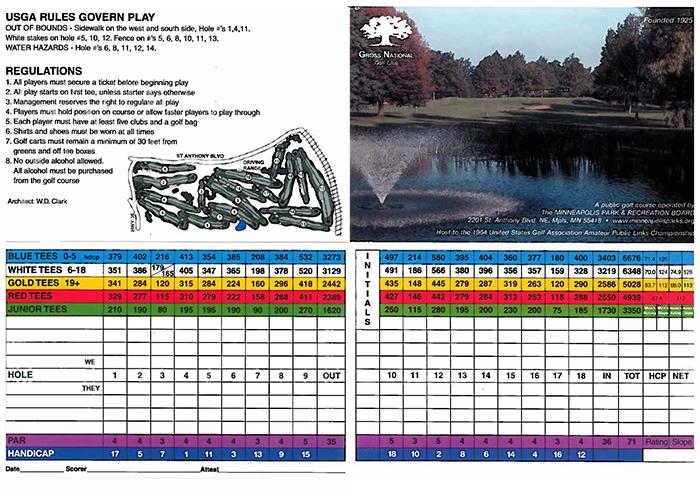Gross golf club score card