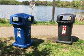 garbage and recycling cans