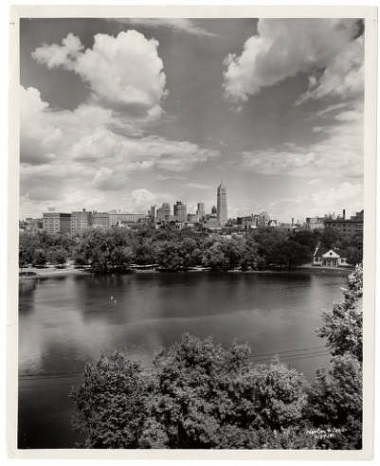 Loring_Park_Lake_and_shelter_building_with_city_skyline_in_the_background_Minneapolis_Minnesota 1958