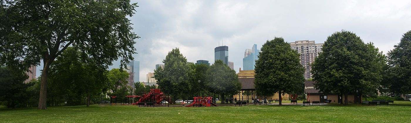 franklin steele square playground and downtown skyline