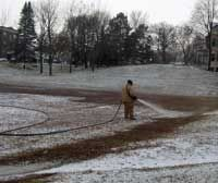 building first layer of ice with hose