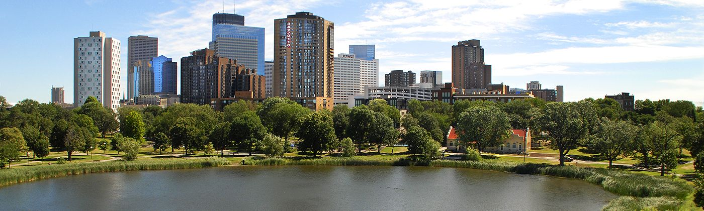 loring park lake and downtown skyline