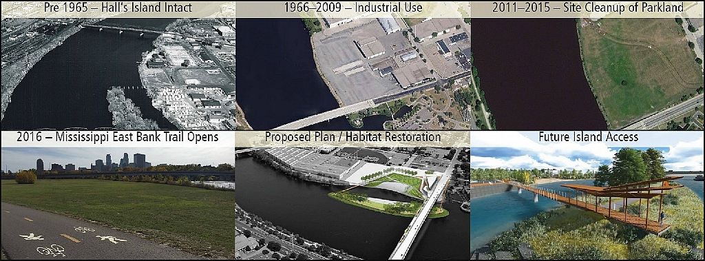Collage of historic, current and future shots of Hall's Island