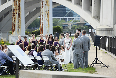 wedding ceremony at water power park