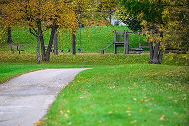 Bassett's Creek Park with playground in the Fall