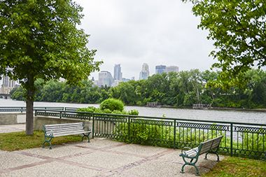 Riverfront views with benches