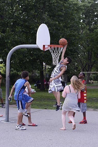 co-ed pick up basketball game