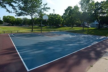 Tri colored basketball court