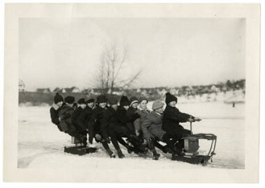 Children sledding at Powderhorn Park, 1900-1910