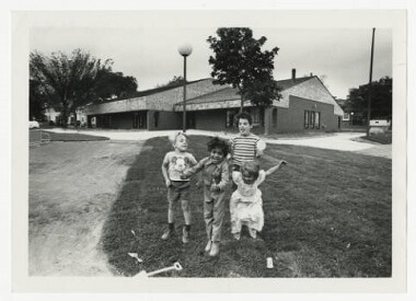 Farview Park children in front of Recreation Center, 1977