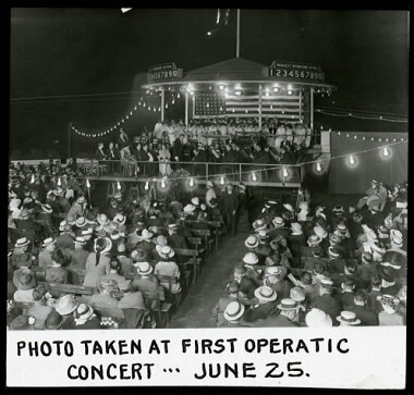 Lake Harriet roof garden, photo taken at First Operatic Concert, June 25, 1900-1930