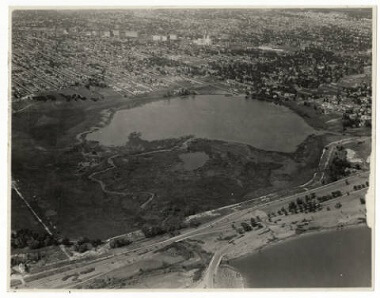 Lake Hiawatha Park Golf Course before improvements, looking north, June 8, 1929-June-8-1929