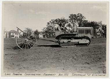 Lake Hiawatha Park construction equipment caterpillar, Aug. 1932