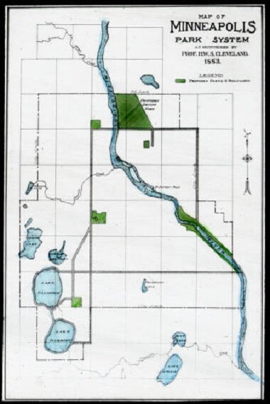 Map of Minneapolis Park System as recommended by Prof. HWS Cleveland, 1883