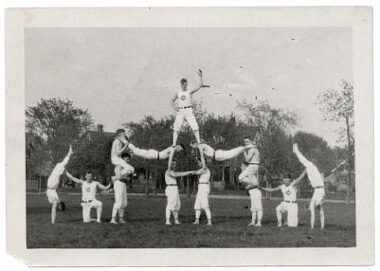 Men in gymnastic pyramid at Powderhorn Park, 1900-1920