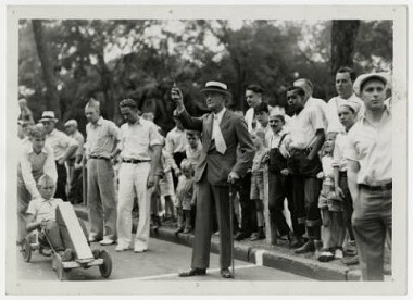 Minneapolis Park Board President Francis A. Gross at the Pushmobile Derby, 1936