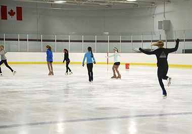 People figure skating.