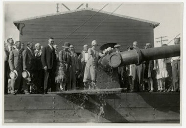 Park Board commissioner Maude Armatage christening the dredge at Lake Hiawatha Park, 1930s