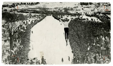 Ski-jump crowd at Glenwood Park (now Theodore Wirth Regional Park), 1910s