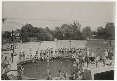 Swimming in deep end at John Deere Webber Baths, Webber Park, 1920s
