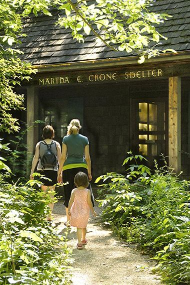 Martha Crone Visitor Shelter in Wildflower Garden