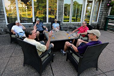 Players unwind on patio