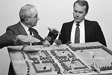 Martin Friedman and David Fisher with a model of the garden (courtesy Walker Art Center)
