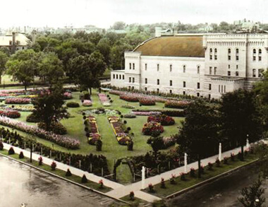 A view of the Armory Garden, looking to the southwest.