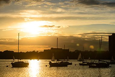 Sunset behind sailboats