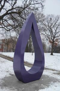Purple Raindrop sculpture at Farview Park