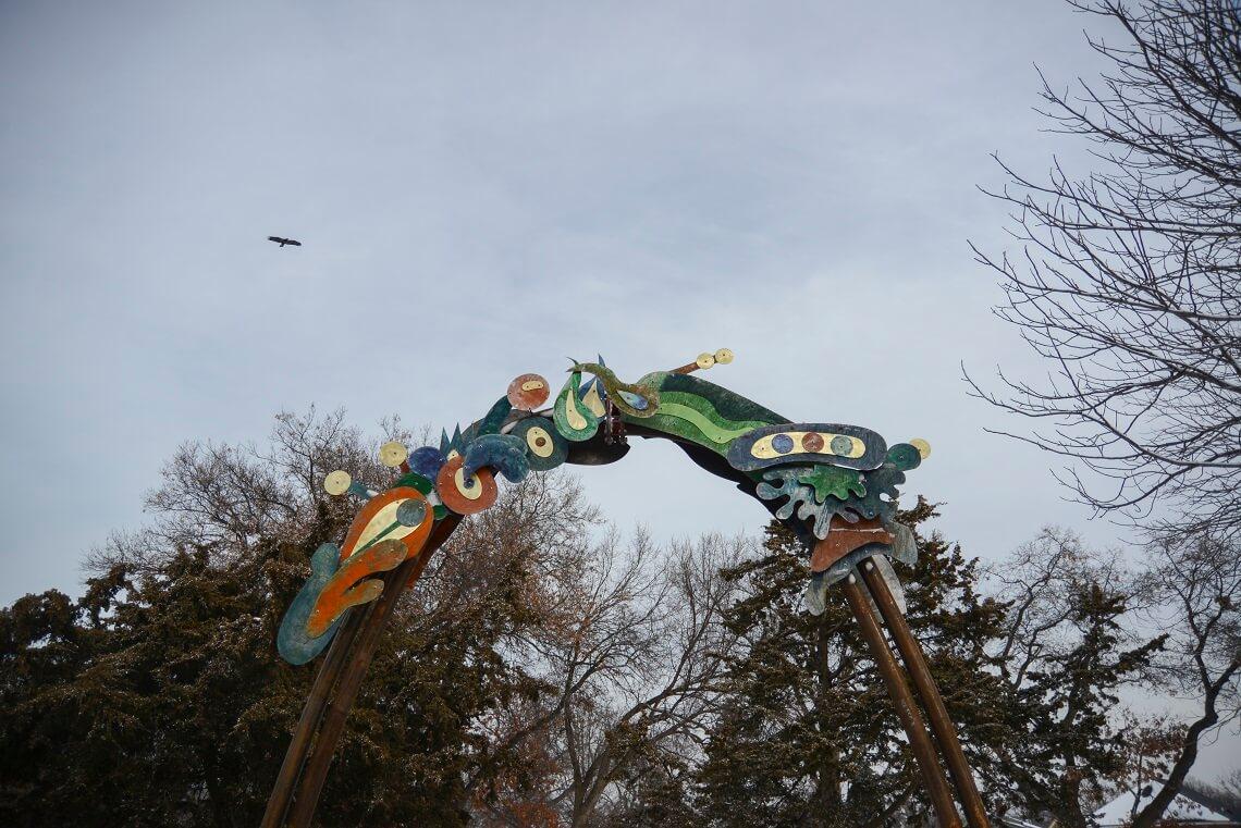 Photo of the Aqurbane sculpture at Theodore Wirth Park.