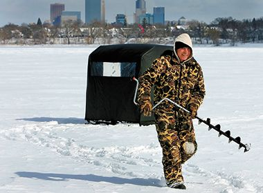 Ice Fisherman with Drill