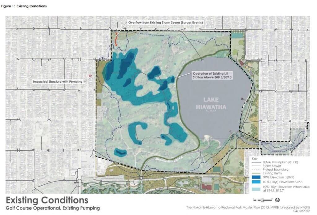 A map of the existing groundwater conditions at the Hiawatha Golf Course Property