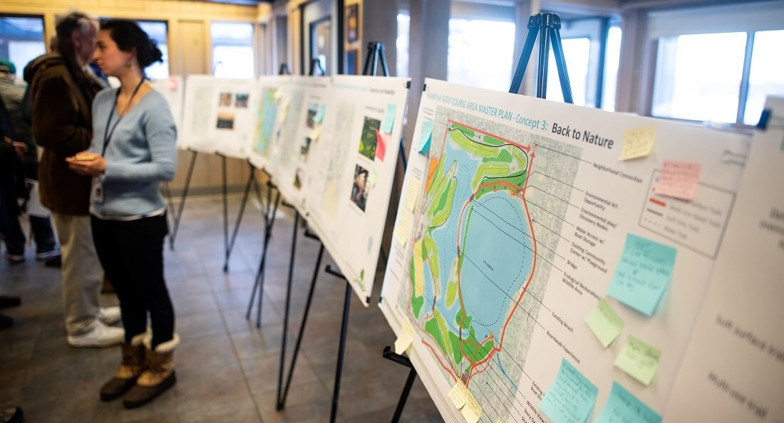 Residents engage with Park Board employees over the Hiawatha Master Plan