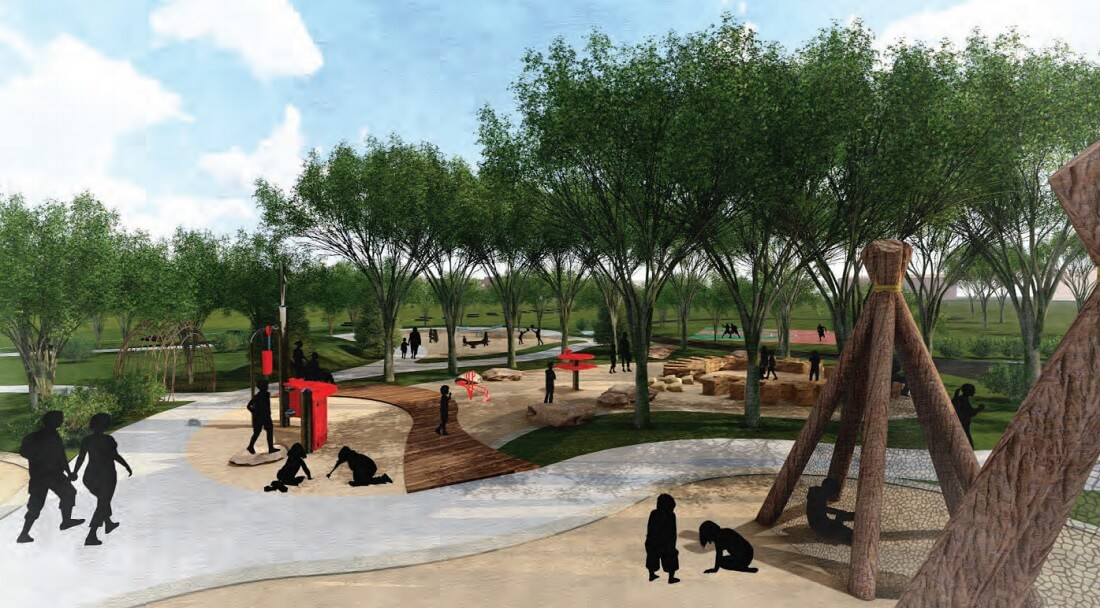 An illustration showing some of the new amenities at Sheridan Memorial Park