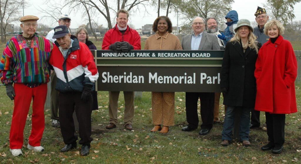 Northeast veterans, community members and public officials pose for a photo at the Sheridan Memorial Park Land Dedication event on Nov. 9, 2007