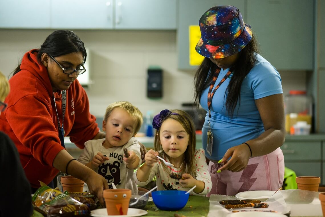 Youth cooking class at Morris Recreation Center