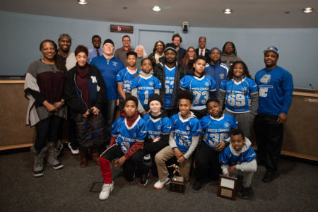 Photo of the award winners of the 2019 Fall Youth Sportsmanship Awards with Minneapolis Park Commisisoners.