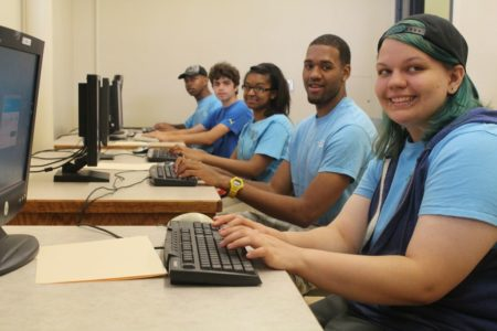 Teen Teamworks members at a computer lab.