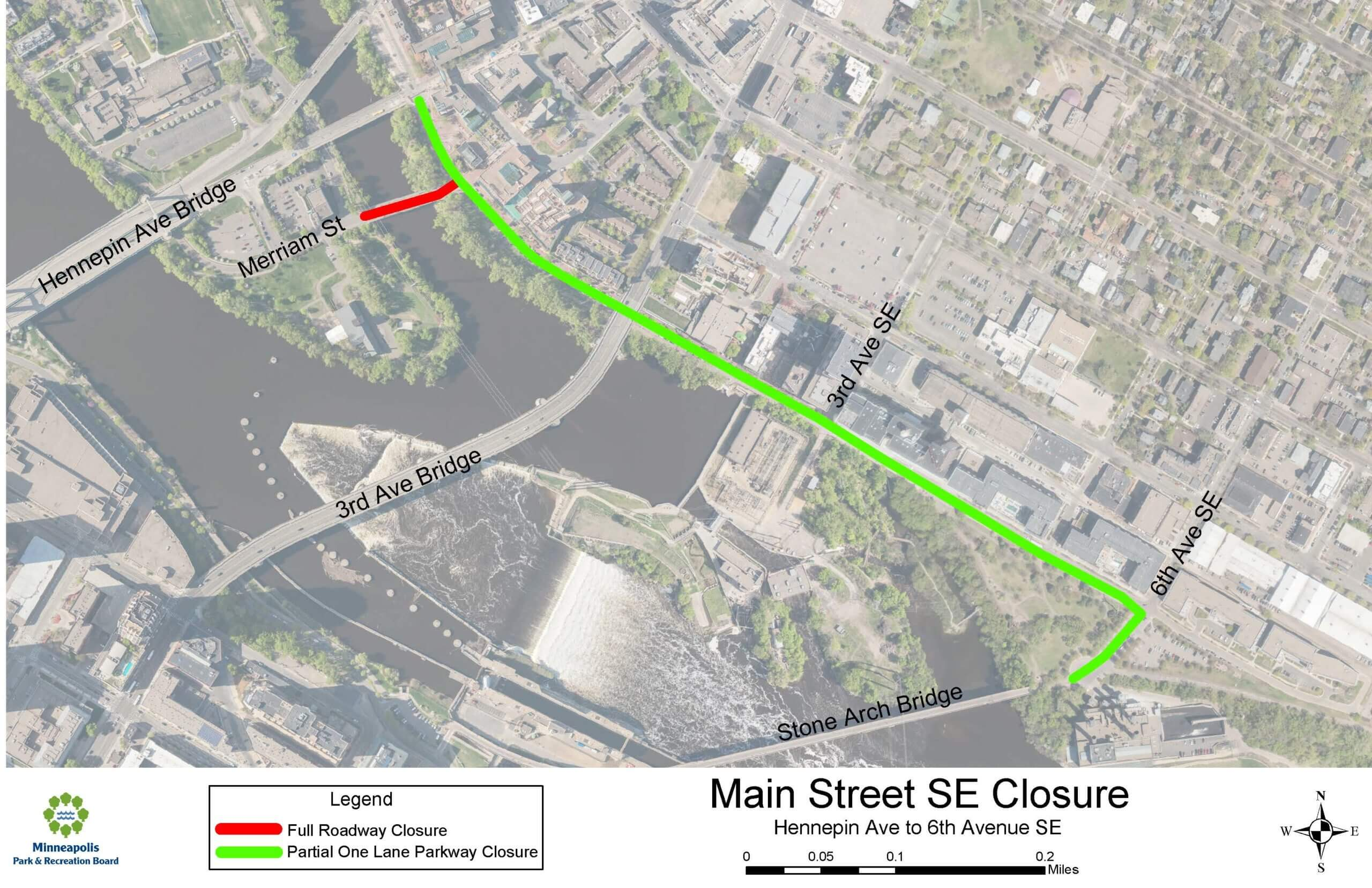 Map of Main St. SE road closure