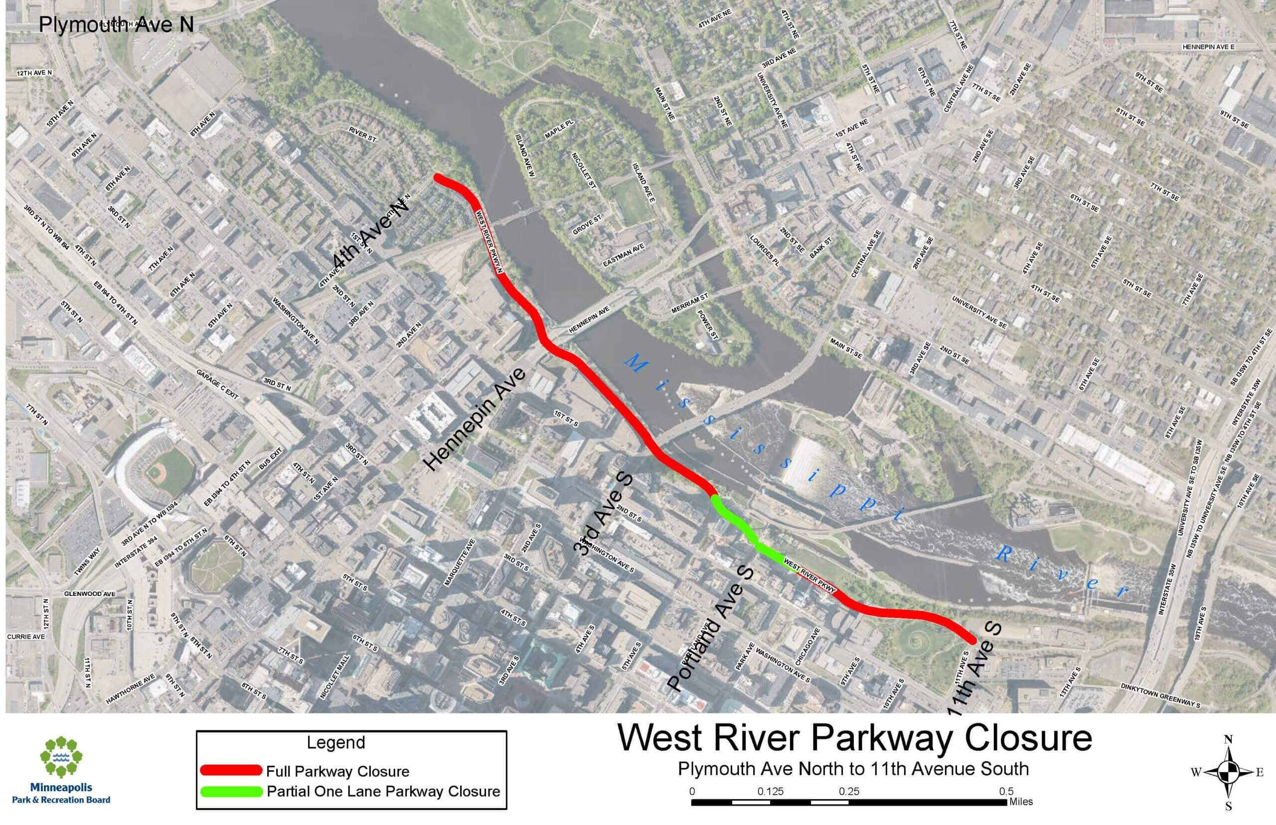 Map of West River Parkway closure