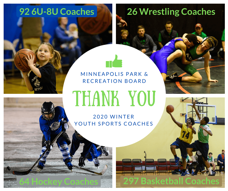 "Thank you graphic. Reads, ""Thank you to 6U-8U, wrestling, hockey, and basketball coaches."" Shows images of youth sports."